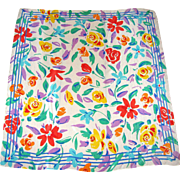 "Pure Silk 31"" Liz Claiborne Square Flowered Scarf"