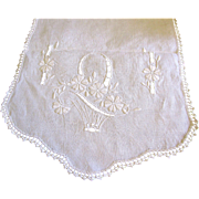 "40"" Hand Embroidered Linen Runner, Flower Baskets"