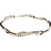 Mexican Sterling Twist Bangle w/ Stamp Design