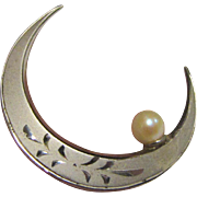 Sterling & Akoya Pearl Crescent Moon Pin