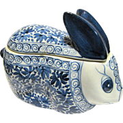 Large Easter Rabbit Blue & White Candy Dish