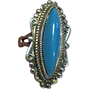 Joseph Esposito Sterling & Simulated Turquoise Ring, Size 6