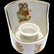 Porcelain Candle-holder w/ Designs of Children