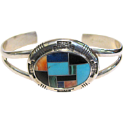 Vintage Carolyn Pollack Relios Sterling Inlaid Cuff Bracelet