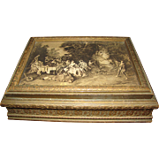 Antique Dresser Cosmetic Box, With Pastoral Scenes & Glass Liner