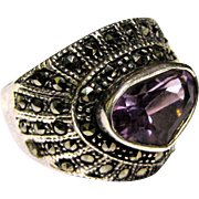 Sterling & Amethyst Heart Ring w/ Marcasites, Size 8, 10 grams