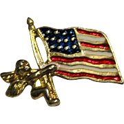 Cute American Flag Lapel Pin with Cherub
