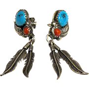 Native American Style Sterling Feather Earrings