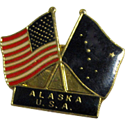 Alaska & American Flags Lapel Pin