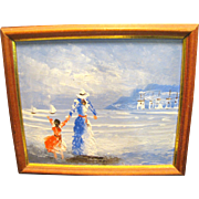 Small Acrylic on Board Impressionist Painting of Lady with Child at Beach