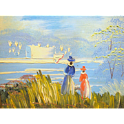 Small Acrylic on Board Impressionist Painting of Two Ladies at the Shore
