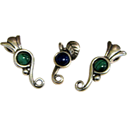 3 Carolyn Pollack Sterling & Gemstone Slide Charms