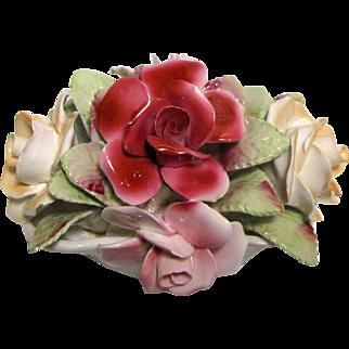 Large Royale Stratford Fine Bone China Roses in Basket
