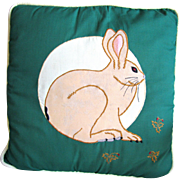 Vintage Easter Bunny Appliqued Pillow
