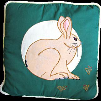 Vintage Easter Bunny Appliqued Pillow
