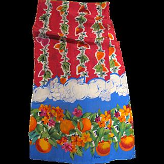 "Vibrant ""Vera"" Fruit Design 50"" Long Rayon Scarf"