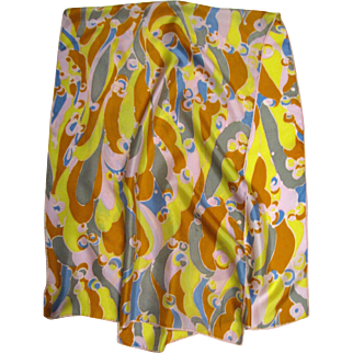 """1960's Psychedelic 46"""" Long Silk Scarf"""