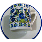 5 Bird Design Demitasse Cup & Saucer Sets