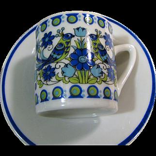 5 Bird Design Demitasse Cup & Saucer Sets