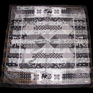 """Elegant 34"""" Sq Leslie Fay Black & White Polyester Chiffon Scarf"""
