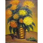 Harris, Small 1970's Oil Painting, Vase of Chrysanthemums