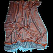 """84"""" Burnt Orange & Turquoise Wool Silk Pashmina"""
