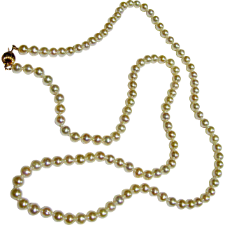 """24"""" 5 mm Cultured Pearl Necklace w/ 14K Gold Clasp, Bridal!"""