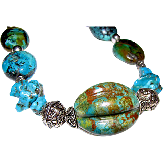 """Statement 18"""" Sterling & Turquoise Necklace, 120 grams"""