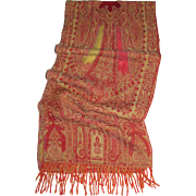 "60"" by 13"" Wool Pashmina Scarf, Reds & Golds"