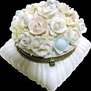 Large Porcelain Trinket Box w/ Beautiful Pastel Flowers