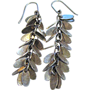 "Sterling & Silvertone 2"" Fringe Earrings"