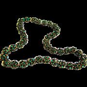 1930's  Prong Set Rhinestone Bead Necklace