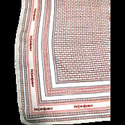 "Yves Saint Laurent 18"" Sq Logo Silk Scarf"