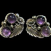 Richard Begay Navajo Sterling Amethyst Flower Earrings