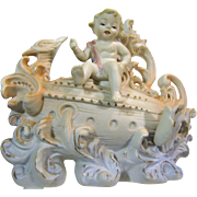 "8"" Occupied Japan Rococo Style Bisque Vase, Cherub on Dragon Boat"
