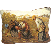 "Harris Wool Needlepoint Pillow, ""The Gleaners"""