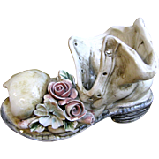 Whimsical Capodimonte Tramp's Boot w/ Flowers