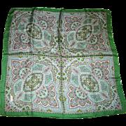 """Vintage """"Echo"""" 26"""" Sq Green Paisley Silk Twill Scarf"""