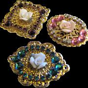 3 Vintage Button Covers w/ Rhinestones & Porcelain Flowers