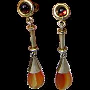 Chinese Export Sterling Vermeil, Carnelian & Garnet Earrings
