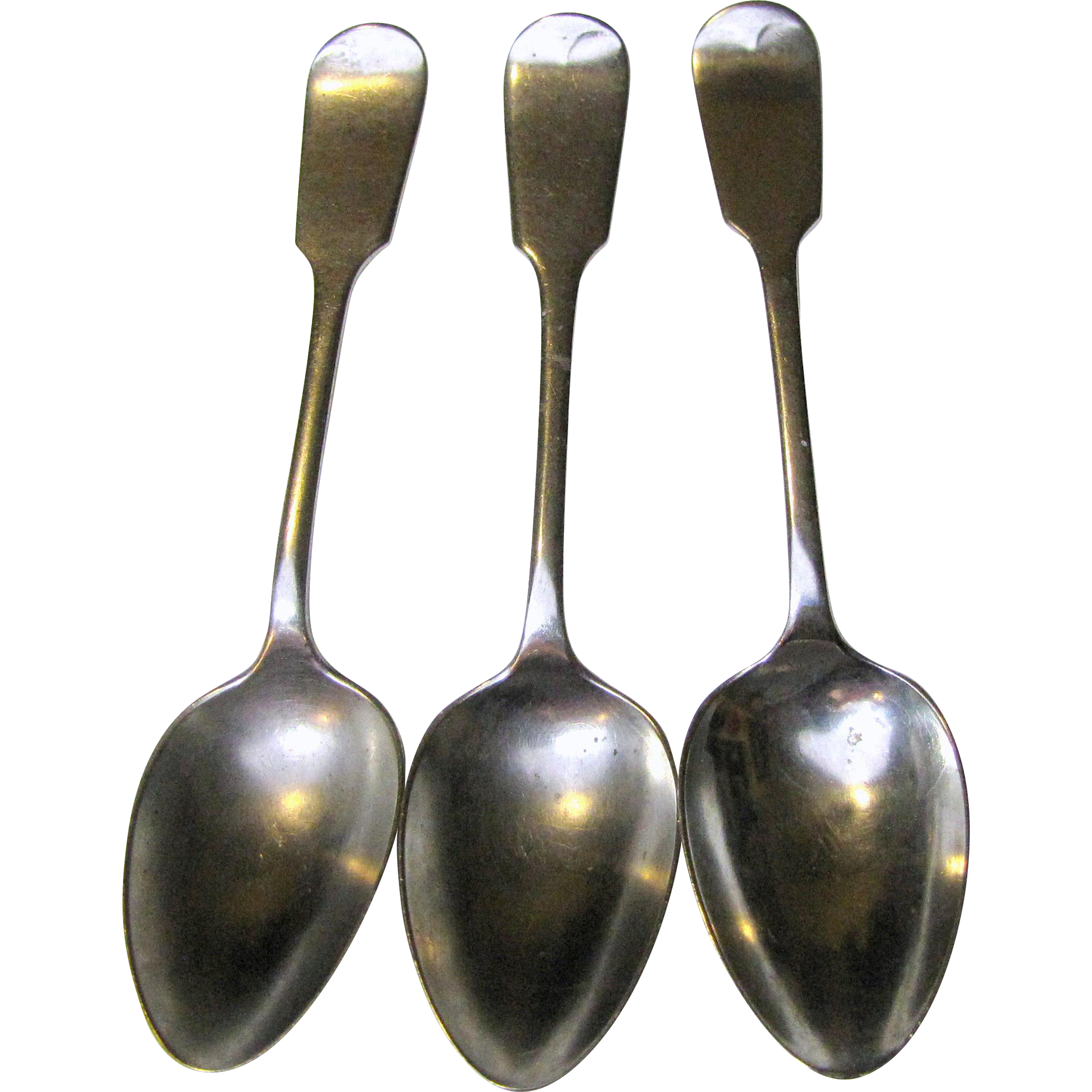 """3 Antique D & A Nevada Silver Co Fiddle Back 5 1/2"""" Spoons"""