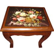 Harris, Charming Hand Painted Small Table, Basket of Flowers