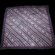 "Lillian Vernon 31"" Sq Floral Navy Silk Scarf"