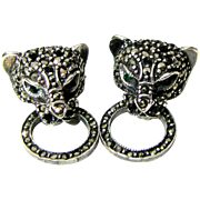 Gianni Versace Sterling & Marcasite Panther Head Earrings