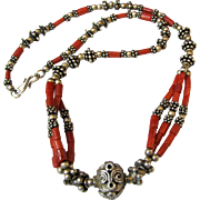 "16"" Red Mediterranean Coral Necklace w/ Ornate Sterling Focal Beads"