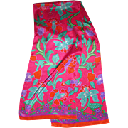 "Vibrant 52"" Pure Silk Pink Floral Scarf"