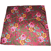"32"" Sq Pure Silk Blooming Rose Scarf"