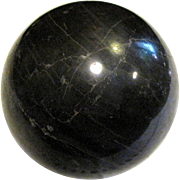 "Large Black Marble Sphere, 3 1/2"" Diameter"