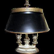 Elegant Brass Bouillotte Style Table Lamp w/ Metal Shade
