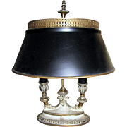 Elegant Brass Bouillotte Style Table Lamp w/ Metal Shade